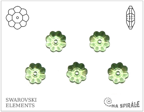 Swarovski kytička - spacer 6 mm, peridot, 1 ks