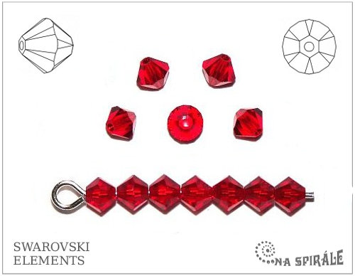 Swarovski sluníčko 4 mm, light siam, 1 ks
