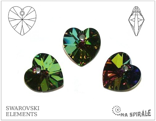 Swarovski srdíčko 18x17,5 mm, crystal vitrail medium, 1 ks