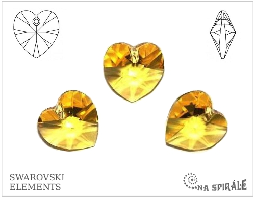 Swarovski srdíčko 10,3x10 mm, light topaz, 1 ks