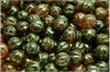 Meloun - melon bead 8 mm, jet+crystal Red Luster, 12 ks