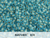 Matubo 8/0, Aquamarine Bronze Ice Lined, 10 g