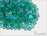 O-bead, transparent emerald AB, 2,5 g