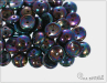 Piggy beads, jet vega iris, 8x4 mm, 30 ks