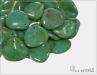 Rose petal 14x13 mm, Opaque Green Turquoise Travertine, 10 ks