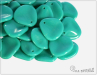 Rose petal 14x13 mm, Opaque Turquoise, 10 ks