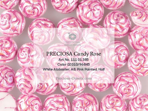 Preciosa Candy Rose 12 mm, Alabaster AB Pink Painted, 1 ks