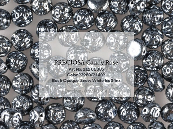 Preciosa Candy Rose 8 mm, Jet Hematite, 10 ks