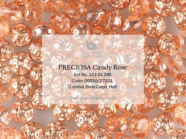 Preciosa Candy Rose 12 mm, Crystal Capri, 1 ks