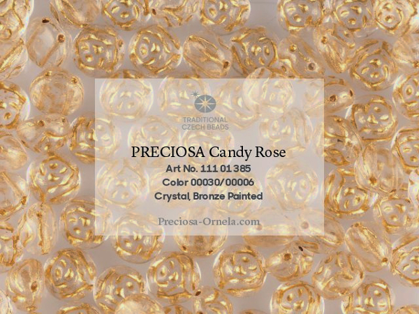 Preciosa Candy Rose 12 mm, Crystal Bronze Painted, 1 ks