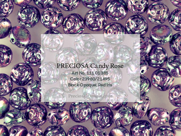 Preciosa Candy Rose 8 mm, Jet Metallic Iris Violet, 10 ks