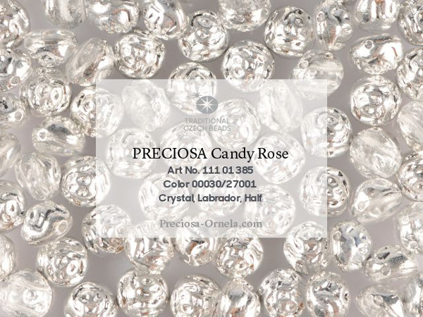 Preciosa Candy Rose 8 mm, Crystal Labrador, 10 ks