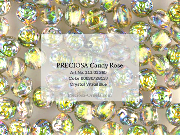 Preciosa Candy Rose 8 mm, Crystal Vitrail, 10 ks