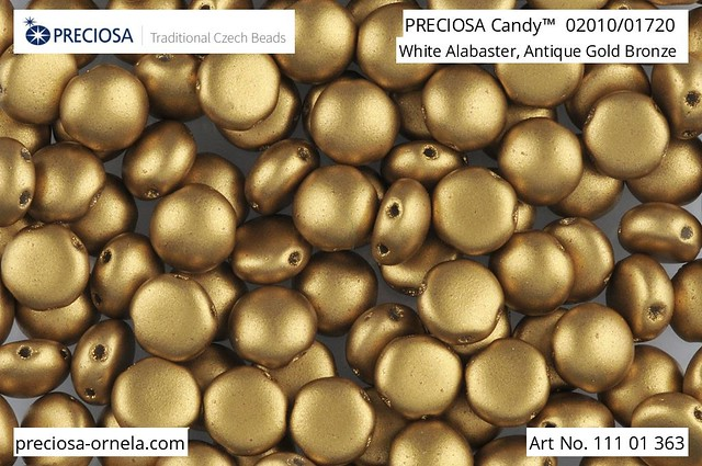Preciosa Candy 8 mm, Silky Metallic Amber, 10 ks