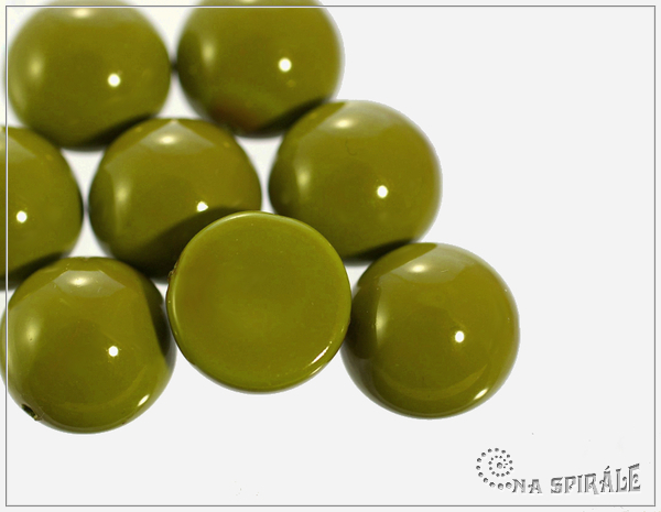 Dome Bead 14x8 mm, Fiesta Pea Green, 1 ks