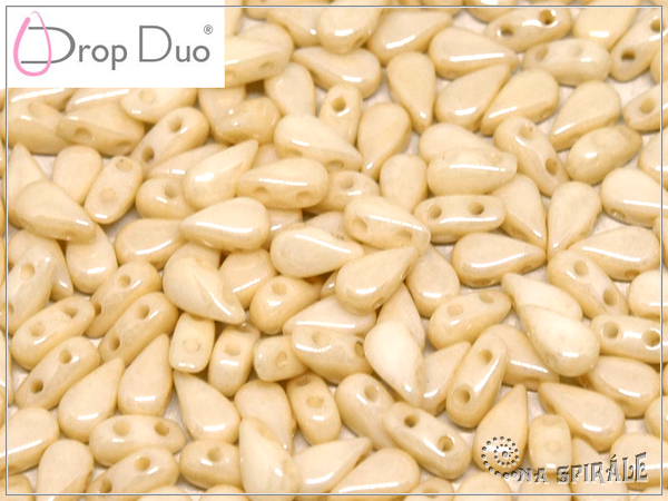 DropDuo 3x6 mm, Chalk Champagne Luster, 30 ks