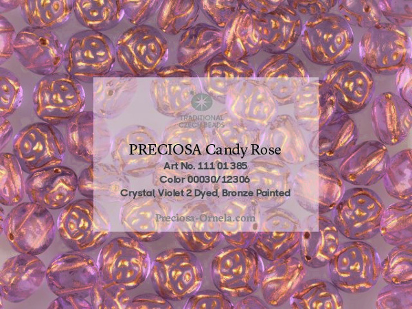 Preciosa Candy Rose 8 mm, Crystal Violet Bronze Painted, 10 ks