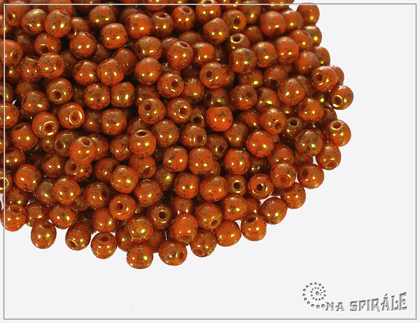 Kuličky 3 mm, Opaque Orange Teracota, 100 ks