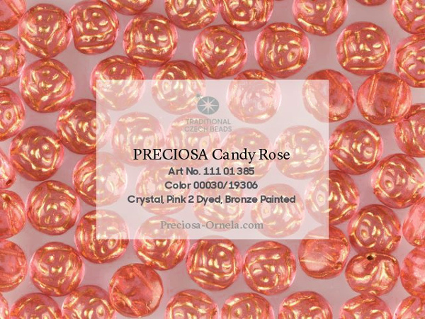 Preciosa Candy Rose 12 mm, Crystal Pink Bronze Painted, 1 ks