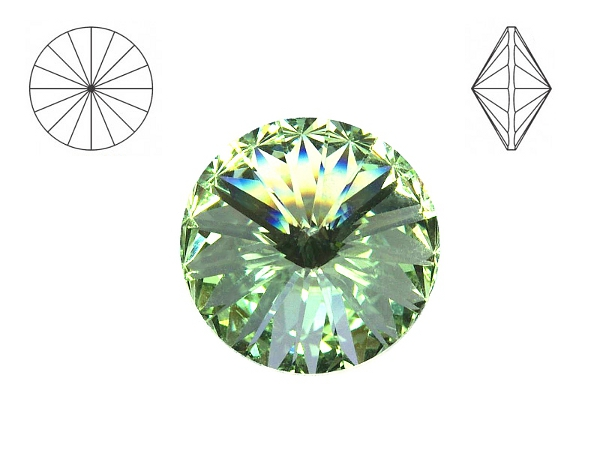Swarovski 1122 rivoli 14 mm, Chrysolite, 1 ks