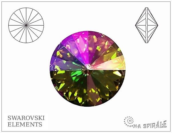 Swarovski 1122 rivoli 14 mm, Crystal Purple Haze, 1 ks