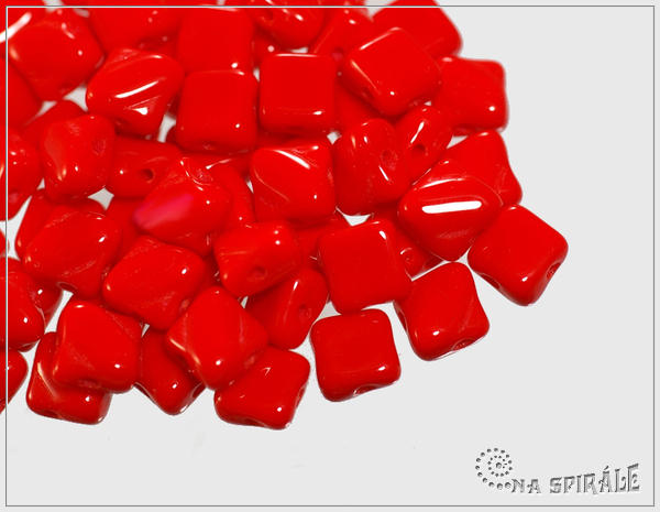 Silky Beads 6x6 mm, Opaque Red, 30 ks