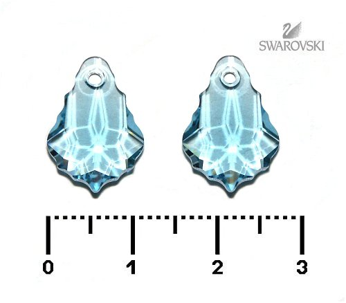 Swarovski baroko 16 mm, aquamarine, 1 ks