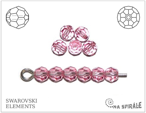 Swarovski kulička 4 mm, light rose, 1 ks